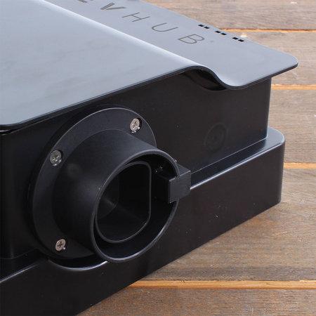 EVHUB Laadstation type 2, 16A, 1 of 3 fase met vaste rechte laadkabel - 12 meter - Zwart