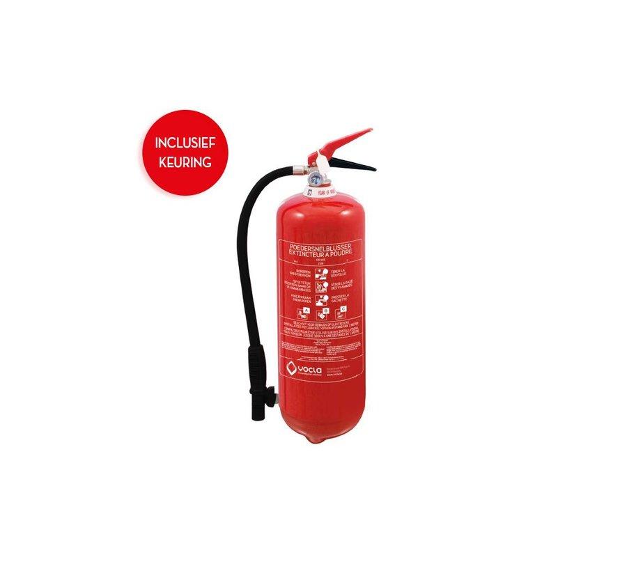 Poederbrandblusser 6kg met BENOR-label onder permanente druk