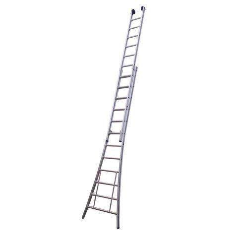 MAXALL tweedelige ladder 2x18 met toprollen geanodiseerd