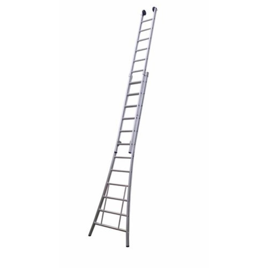 MAXALL tweedelige ladder 2x18 met toprollen ganodiseerd
