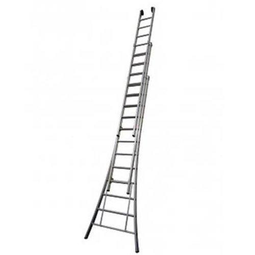 MAXALL driedelige ladder geanodiseerd 3x14 met toprollen
