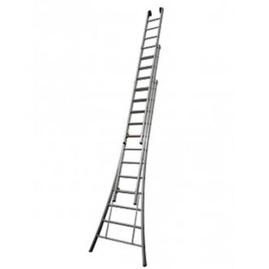 MAXALL driedelige ladder ganodiseerd 3x14 met toprollen