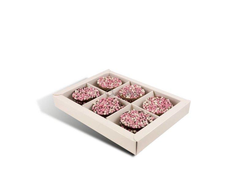 Geboorte flikken  met roze muisjes