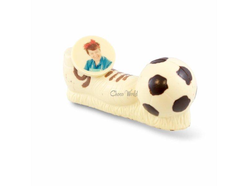 Voetbalschoen met bal en foto of logo