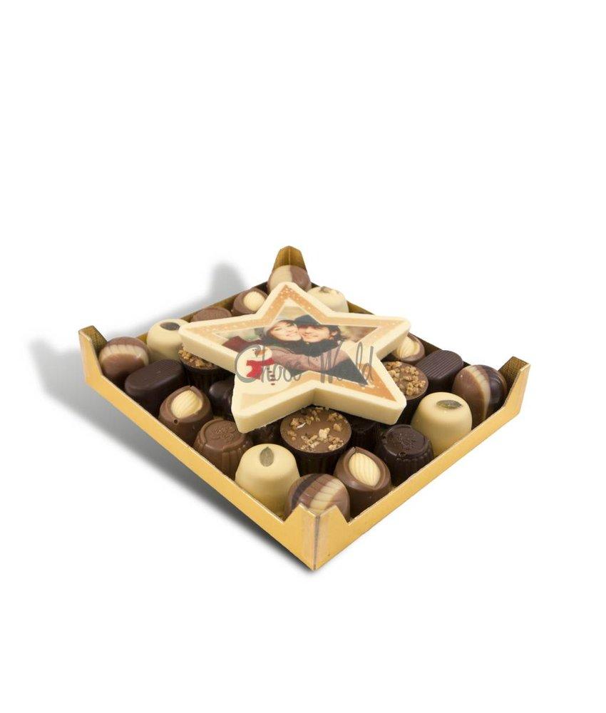 Slagroom Bonbons Assorti Klein met Chocolade Kerstster