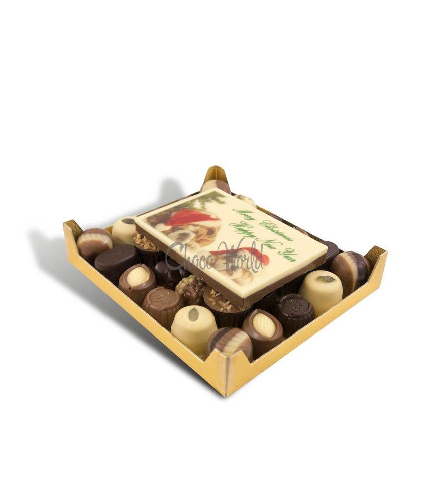 Slagroom Bonbons Assorti Klein met Chocolade Kerstkaart
