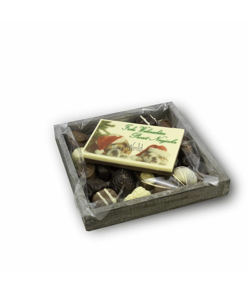 Slagroom Bonbons Assortiment Klein met Chocolade Kerstkaart