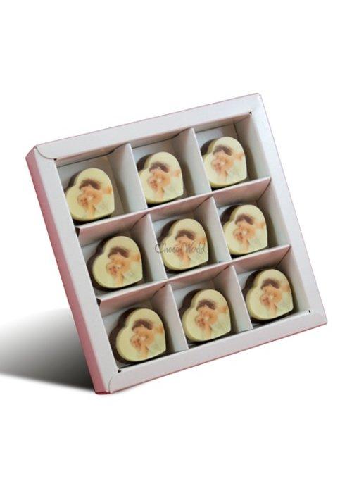 Bonbons Hartje Melk met Foto/Logo 9 stuks