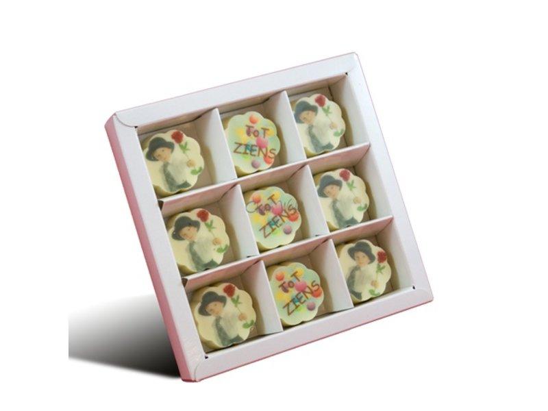 Bonbons Witte met Foto/Logo 9 stuks