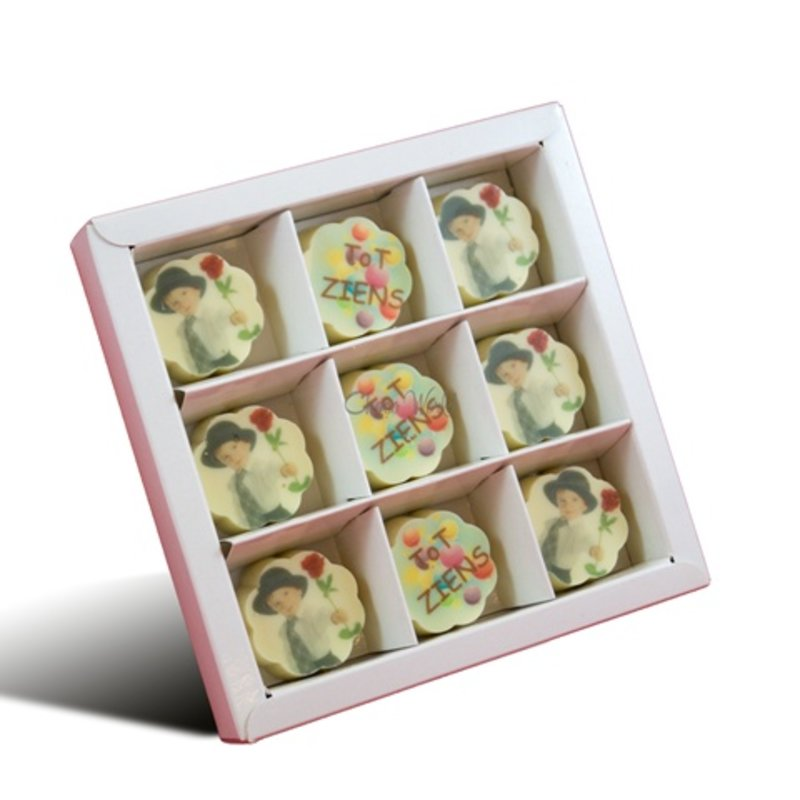 Bonbons Wit met Foto/Logo 9 stuks