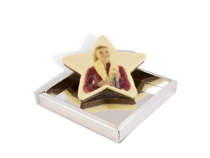 Kleine chocolade ster met foto