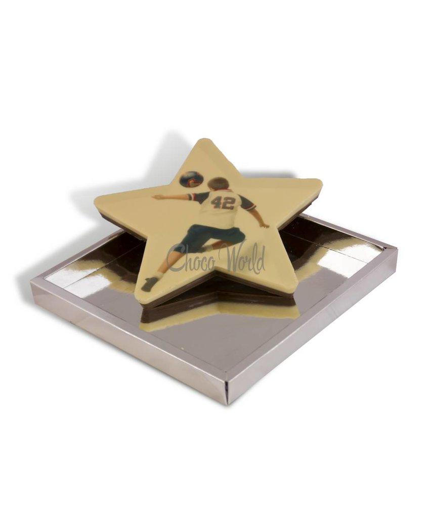 Grote chocolade ster met foto