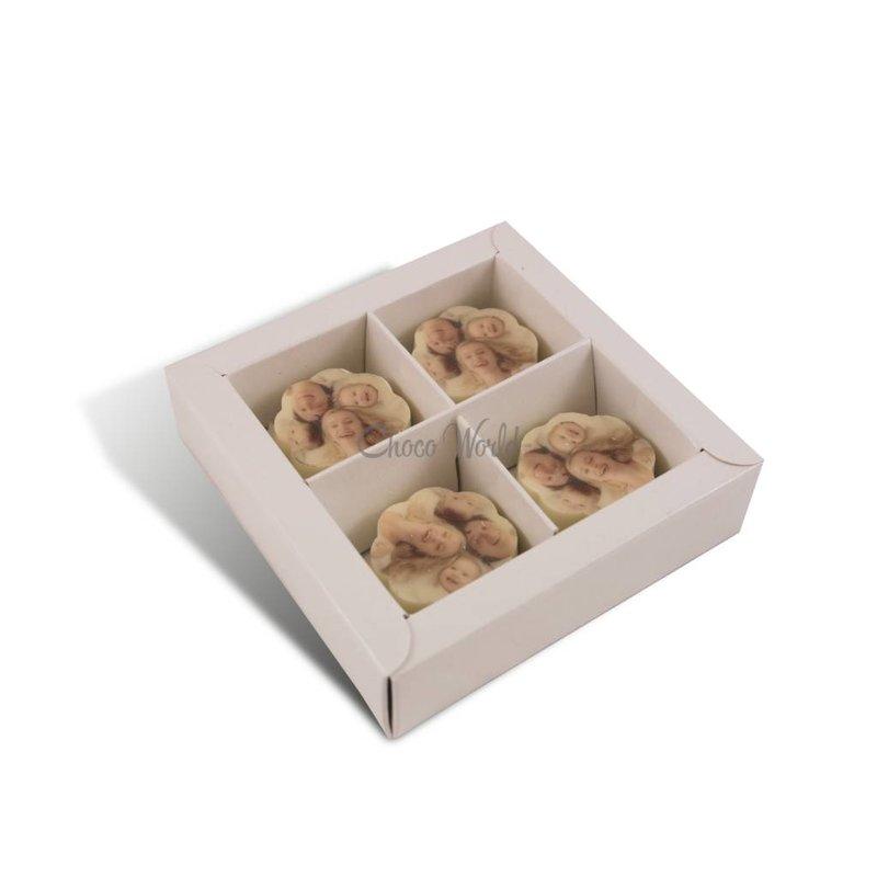 Bonbons Wit met Foto/Logo 4 stuks