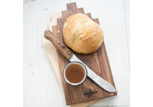 Wooden Amsterdam Serving Board Canal House Shape – Walnut