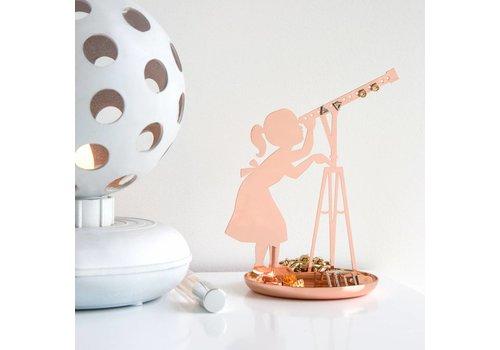 Kikkerland Meisje met telescoop sieradenhouder