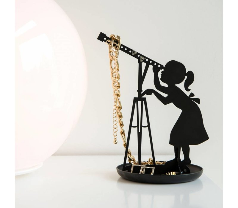 Meisje met telescoop sieradenhouder