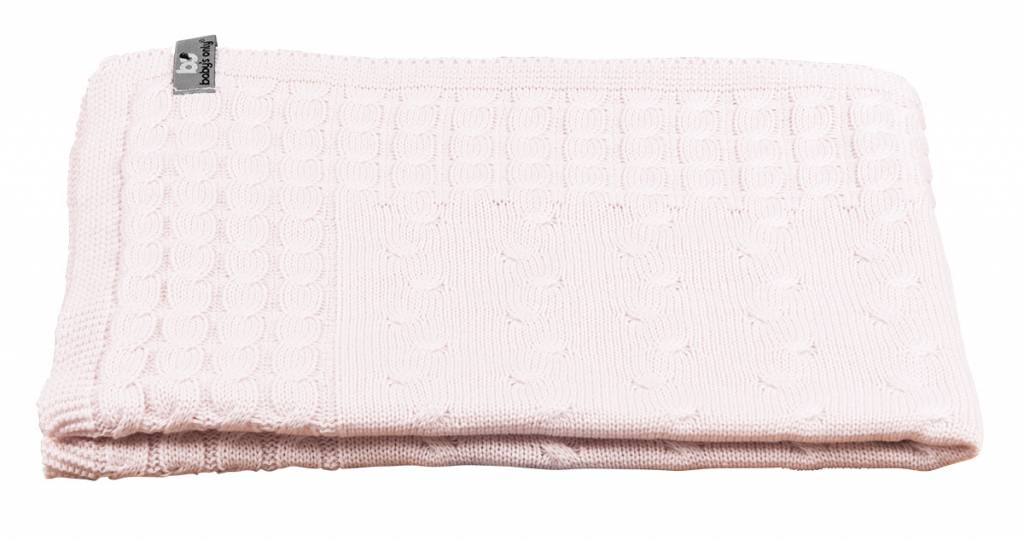 Babys only Baby's only Cable Classic roze Wieg/ledikantdeken