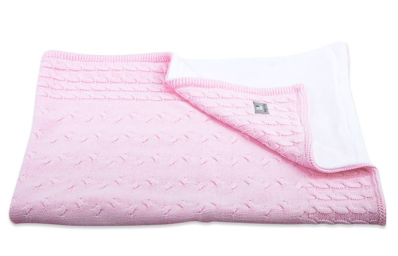 Babys only Baby's only Cable baby roze cenille wieg/ledikantdeken