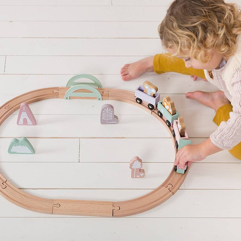 Little Dutch Little Dutch houten treinbaan roze