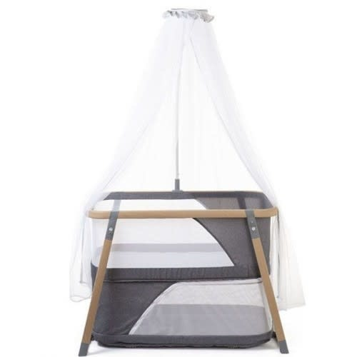 Childhome Childhome ledikant/reisbed houtlook zeer licht aluminium frame inclusief (muggennet/klamboe) en matras