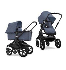 Bugaboo Bugaboo Fox compleet zwart onderstel gemeleerd blauwe stoel/wieg/zonnekap