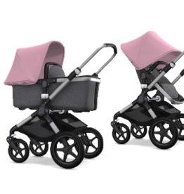 Bugaboo Bugaboo Fox compleet aluminiumonderstel gemeleerdgrijs stoel/wieg pink zonnekap