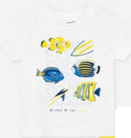 Mayoral Mayoral 1051 shirt geel  wit vis S20B