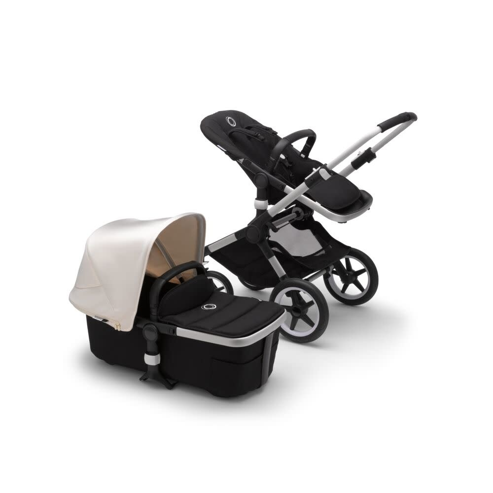 Bugaboo Bugaboo Fox2 compleet aluminium onderstel zwarte stoel/wieg witte zonnekap