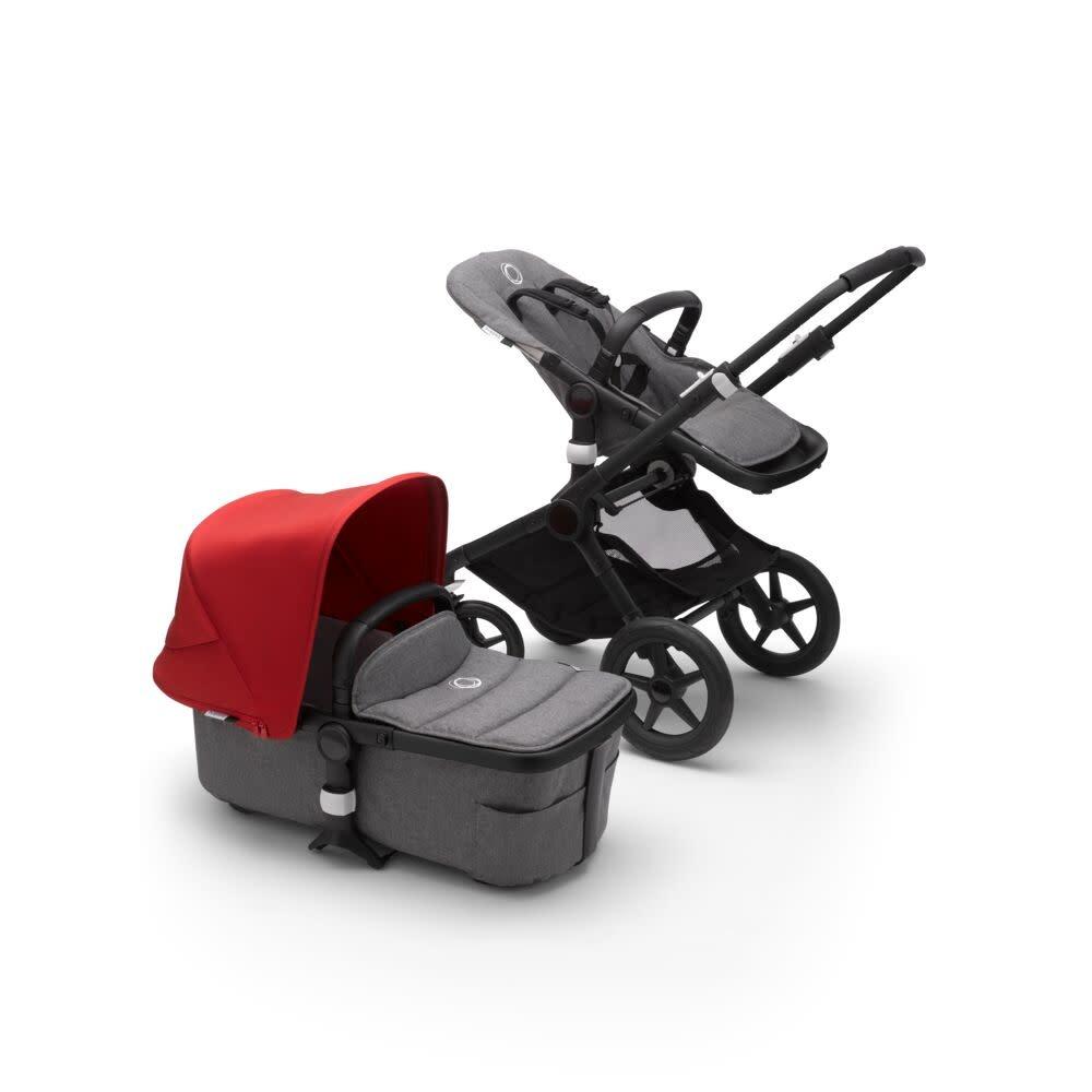 Bugaboo Bugaboo Fox2 compleet zwart onderstel zwarte stoel/wieg rode zonnekap