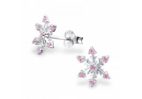 925 ZILVER Sneeuwvlok roze | 925 zilver