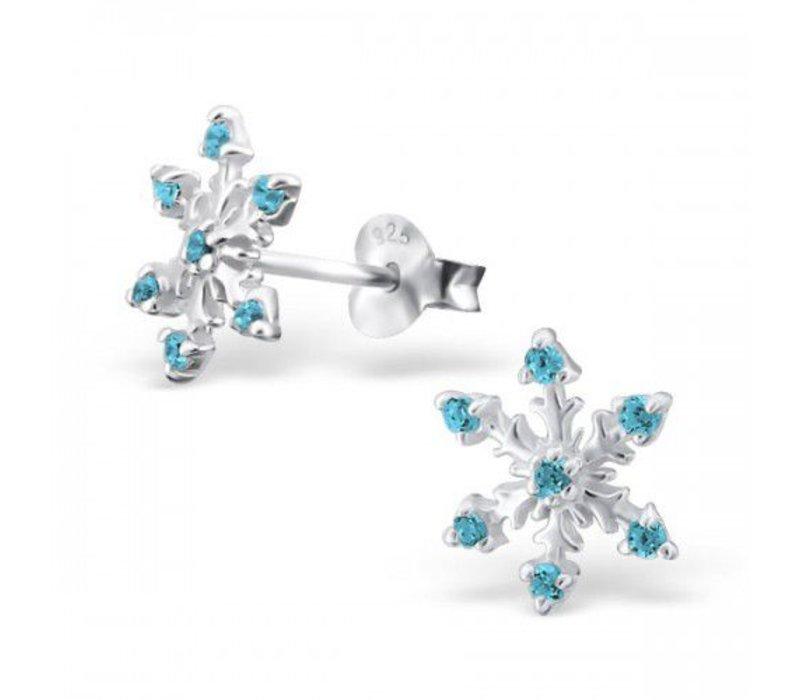Oorknopjes sneeuwvlok blauw | 925 zilver