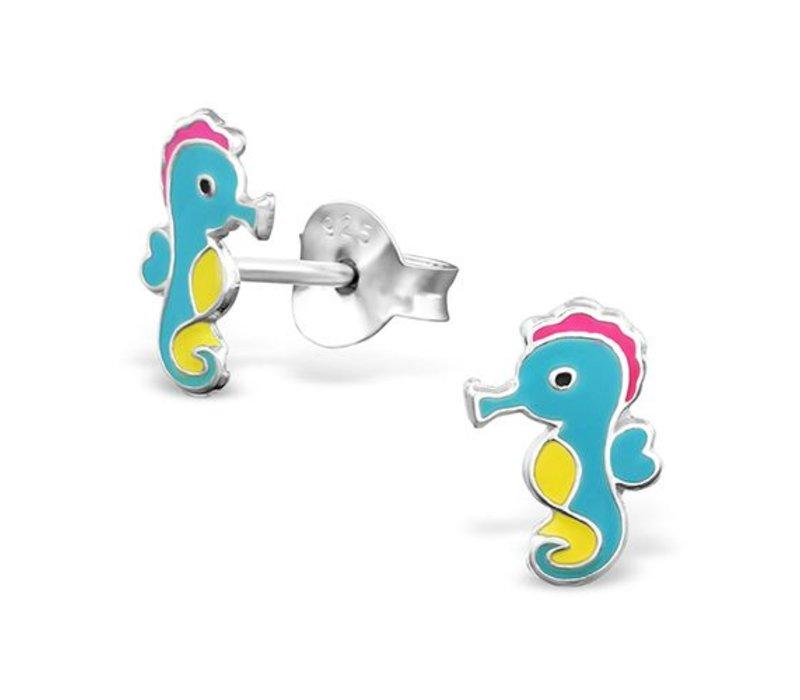 Oorknopjes zeepaardje   925 zilver