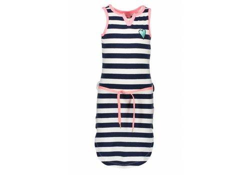 B.NOSY B.Nosy - jurk stripes navy pink 802-5801