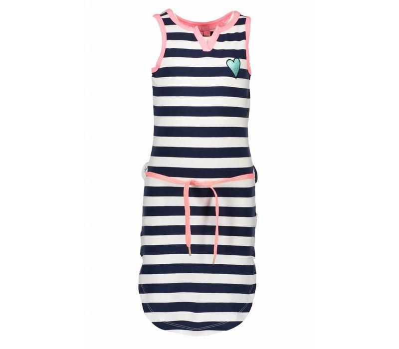 B.Nosy - jurk stripes navy pink 802-5801