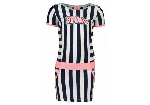 B.NOSY B.Nosy - jurk stripe blueberyy 802-5829