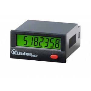 Kübler Codix 6.134.012.860 LCD Urenteller, batterij gevoed,  99999 h 59 min 59 sec of 9999999.9 s, 0...0,7 VDC NPN ingang