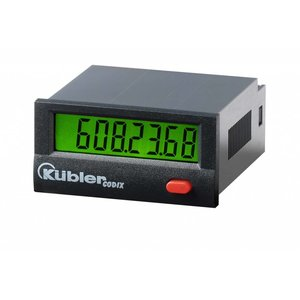 Kübler Codix 6.130.012.862 LCD pulsteller, batterij gevoed, optellend, 4-30 VDC ingang PNP, met backlight (separaat voeden)