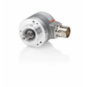 Kübler Sendix 8.5863.3224.G323 encoder absolute Multiturn SSI, Ø58mm clamp flange IP67, Ø10x20mm shaft, SSI Gray code 10-30VDC, 13bit SingleTurn / 12bit MultiTurn + set button, M23-12pin connector