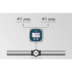 Fluidwell B-Alert - Flow rate monitor / totalizer with alarm + pulse output