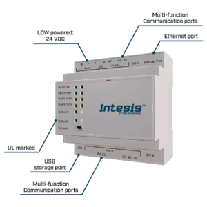 Intesis Modbus TCP/RTU to BACnet IP & MS/TP server gateway  INBACMBM2500000	- 250 points