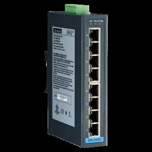 Advantech EKI-2528I, 8-poorts unmanaged industriële ethernet-switch met breed temperatuur bereik