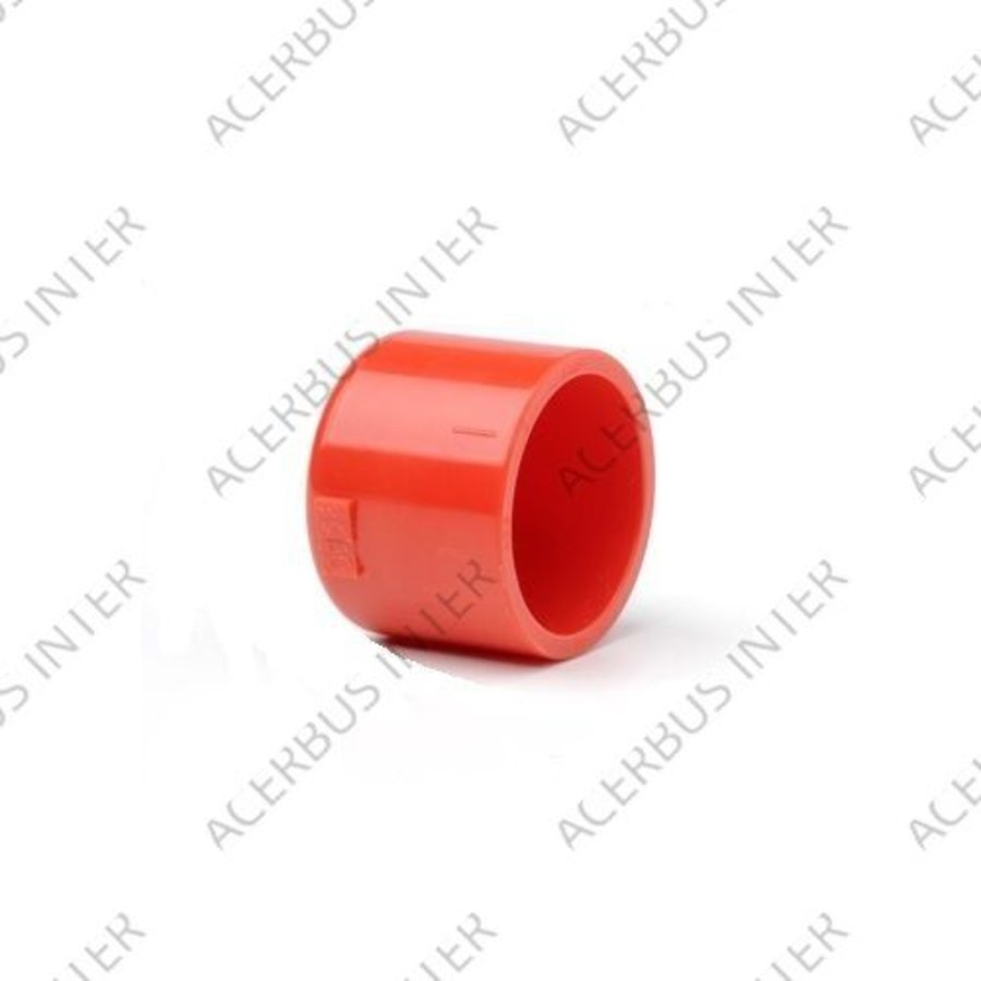 Eindkap lijm voor buis 25mm rood (10-pak)