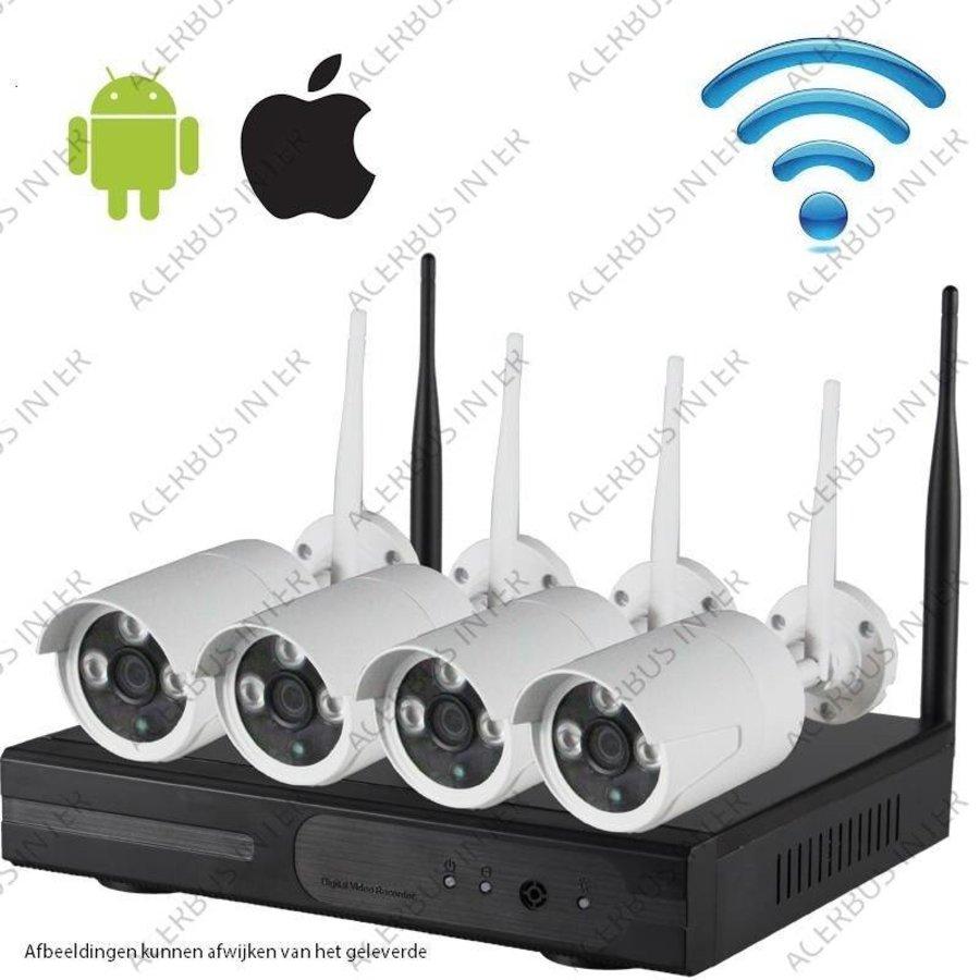 Draadloze IP HD cameraset 1080P Radius PRO, inclusief 4 all-in-one camera's + voeding