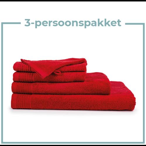 The One Towelling  3 Persoons - Handdoekenpakket - Rood