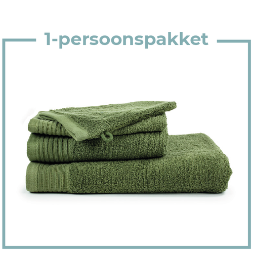 The One Towelling  1 Persoons - Handdoekenpakket - Olijf groen