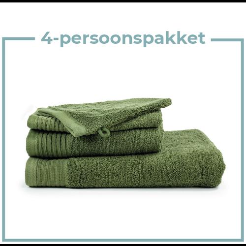 The One Towelling  4 Persoons - Handdoekenpakket - Olijf groen