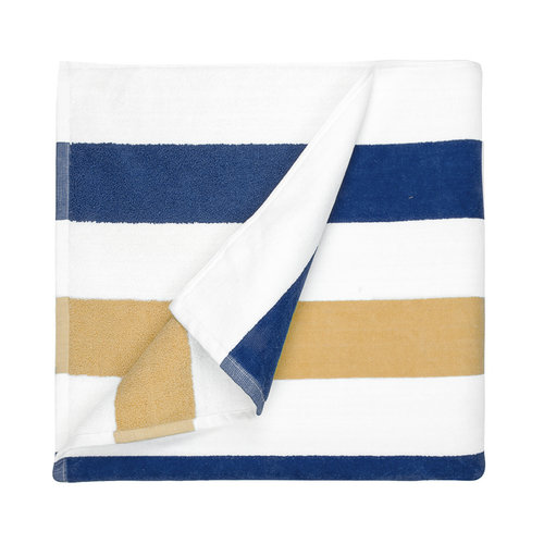 The One Towelling  Strandlaken - Navy & Goud - 90x190 cm
