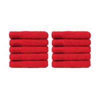 Handdoek - Rood - 50x100 cm - Set van 10