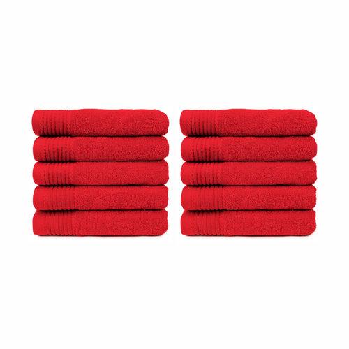 The One Towelling  Handdoek - Rood - 50x100 cm - Set van 10