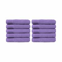 Handdoek - Paars - 50x100 cm -Set van 10